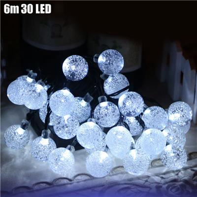 Christmas Tree Decors 6m 30 LED Solar String Light Bubble Shape Lamp Xmas Tree Ornament