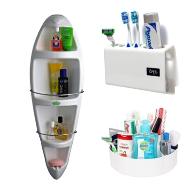 Cipla PlastKangaroo Corner Cabinet  Tooth Brush Holder And Container