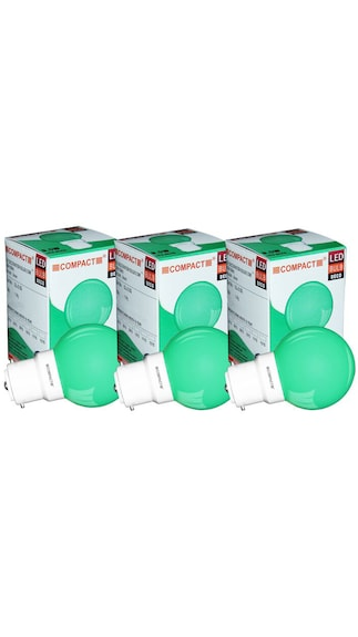 Compact-0.5-W-B22-LED-Deco-Bulb-(Green,-Pack-of-3)