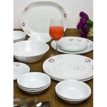 Corelle Circle White Glass Dinner Set - 21 Pcs