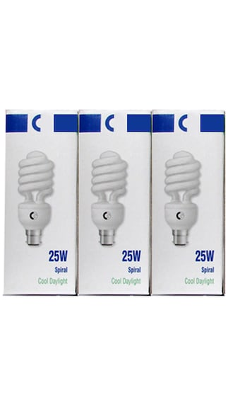 15,20 and 25 Watt CFL Bulb (Cool Day Light,Pack of 3)