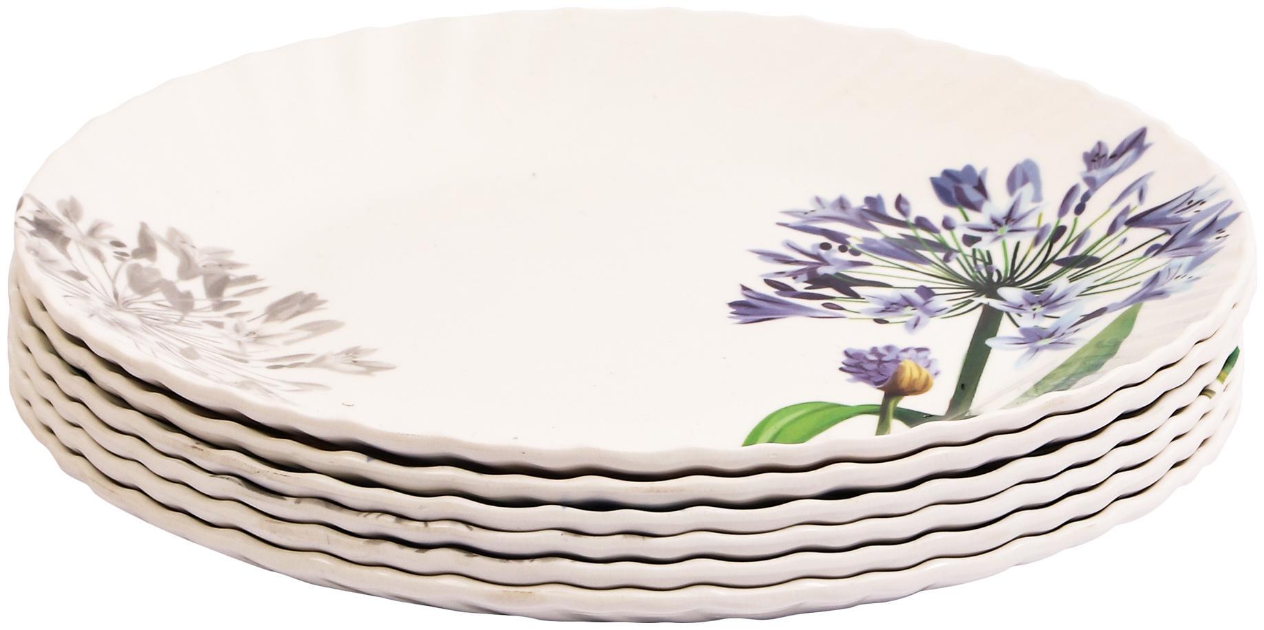 Czar 6 Pcs White Small Plate Blue flower