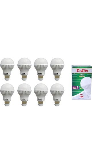 5W White LED Bulbs (Pack Of 8)