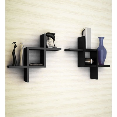 Decorhand Black Wooden Wall Shelves -Set Of 2