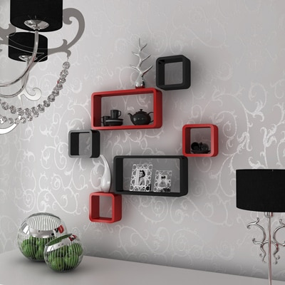 DecorNation Set Of 6 Cube Rectangle Decorative Wall Rack Shelves