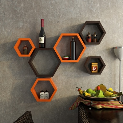 DecorNation Orange And Brown Hexagon Shape Storage Wall Shelf -...