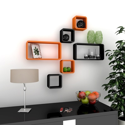 DecorNation Rack Set Of 6 Cube Ractangle Floating e Wall...