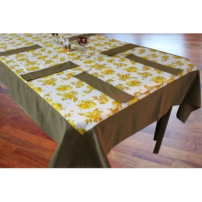 Dekor WorldFloral Printed Yellow 6 Seater Table Cover With Set of 6 Place Mat