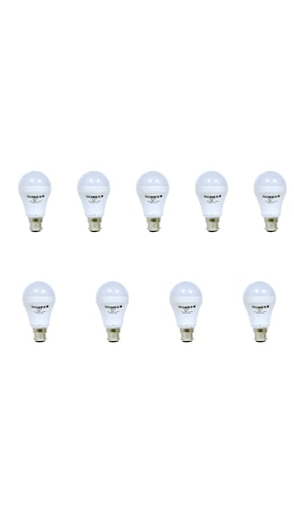 7W Aluminium Body White LED Bulb (Pack of 9)