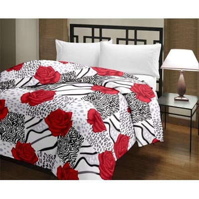 eCraftIndia Red Rose Floral Single Bed Reversible AC Blanket