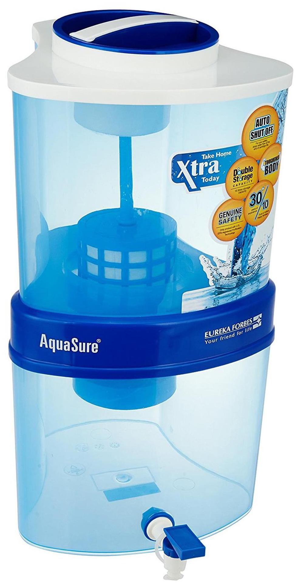 Eureka Forbes Aquasure from Aquaguard Xtra Tuff 15 Ltrs 4 Stage Purification Water Purifier (White & Blue)