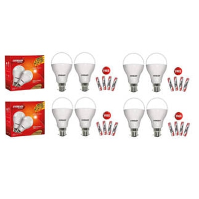 Eveready 12 Watt Cool Daylight Led Lights With Batteries (8 Pcs With 16 Batteries Free)