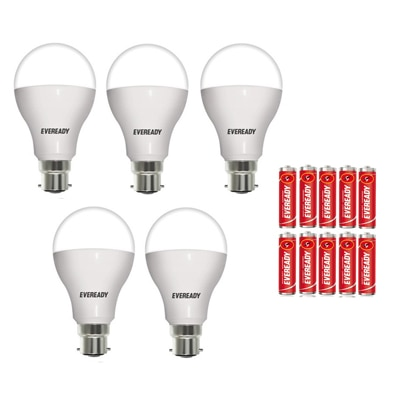 Eveready 12W-6500K Cool Day Light Led Bulb (Pack Of 5 With 10 Battery Free)