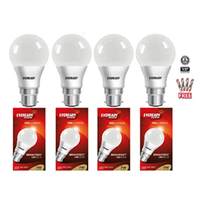 Eveready 7W 6500K Pack of 4 LED Combo with Free 8 Pc AAA Battery