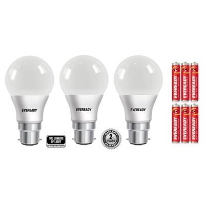 Eveready 7W Pack of 2 & 9W Pc-1 Cool Day Light BHK Pack of 3 with 6 AA Batteries Free