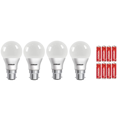 Eveready 9 Watt Cool Daylight Led Bulb (4 Bulbs With 8 AA Batteries Free)