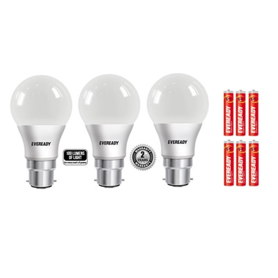 Eveready 9W LED Bulb Pack of 3 with 6 Free Battery.