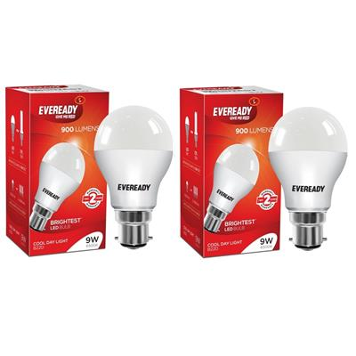 Eveready 9W 6500K LED Pack of 2 with Free 4 Pc AAA Battery