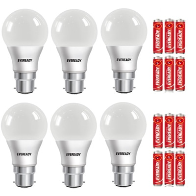 Eveready 9W-6500K Cool Day Light Pack of 6 with Free Battery