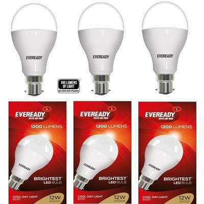 Eveready Cool Day Light LED Bulbs 12 Watt - Pack Of 3