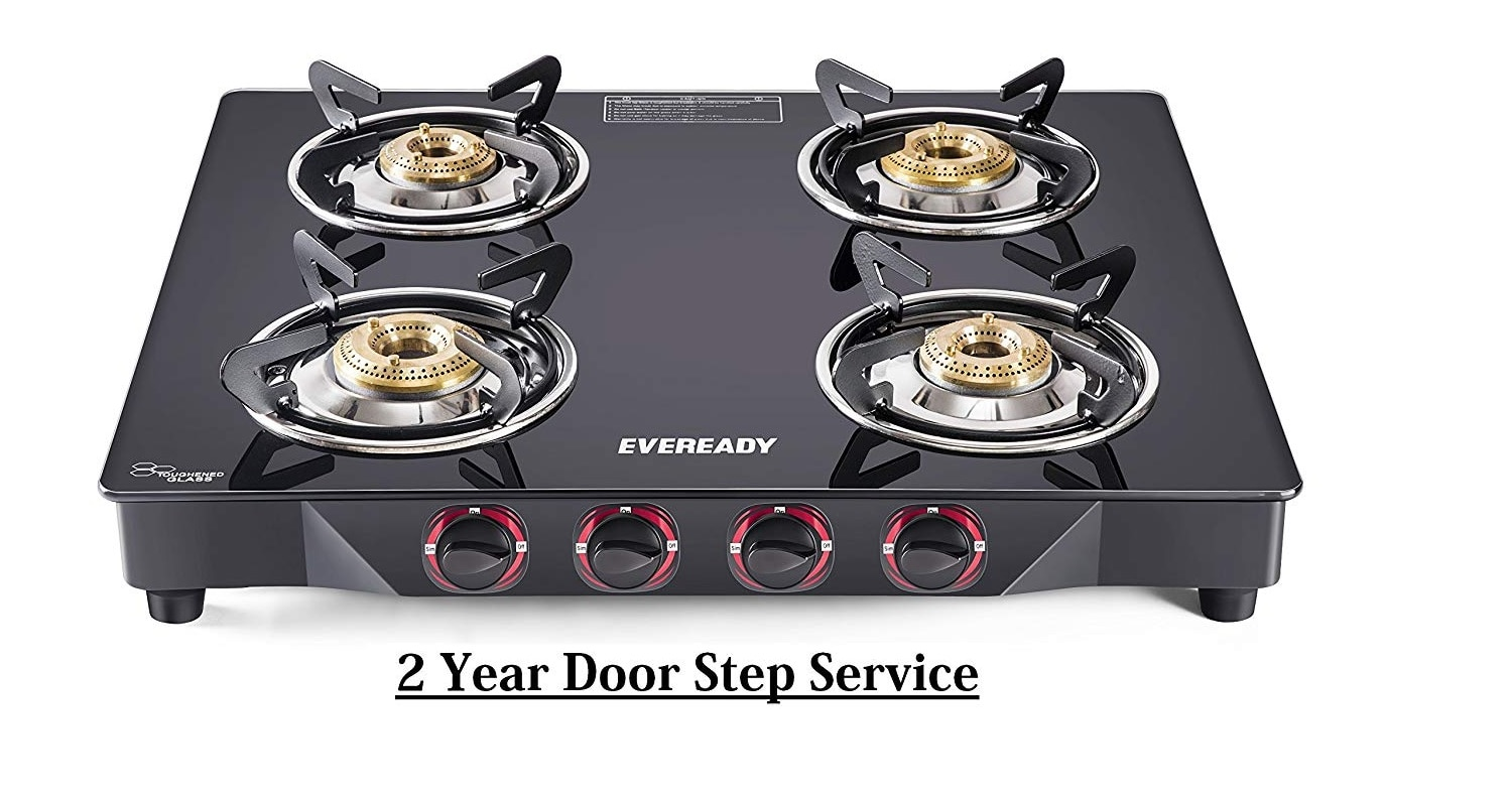 Eveready TGC4B MR Glass Top 4 Burner Gas Stove - Black with 2 Year Onsite Warranty