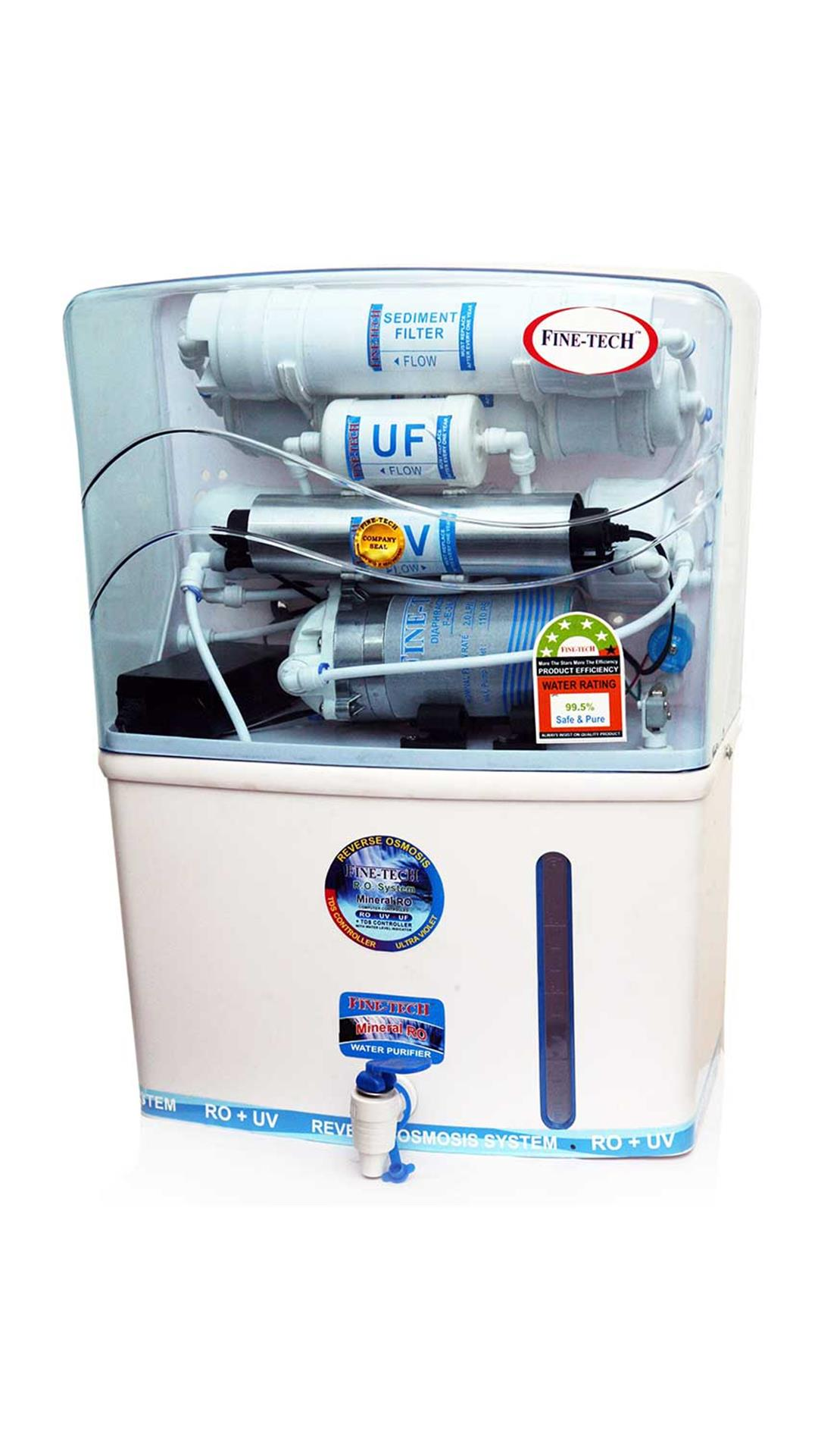 Finetech New 8 L RO+UV+UF Water Purifier (White)