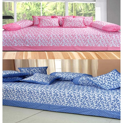 Fresh From Loom Cotton Blue And Pink 8 Pcs Diwan Set - Set Of 2