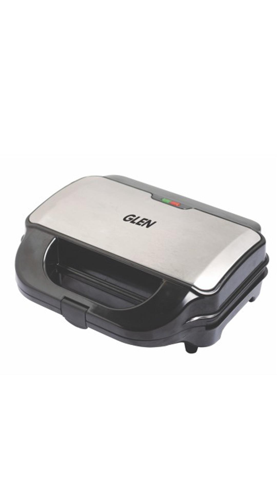 Glen Snack Grill 3030 900 watt 3 Changeable Plates Black