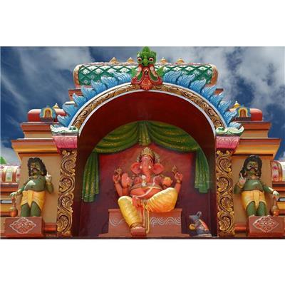 "Gods Hindu Temple South India Kerala - Medium SIZE: 17.7 "" X 12.0 "" - FRAMED PREMIUM CANVAS Wall Artwork"