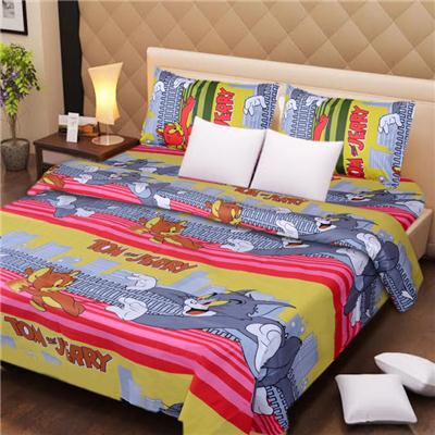 Handloomdaddy cotton double bed sheet with 2 pillow covers -...