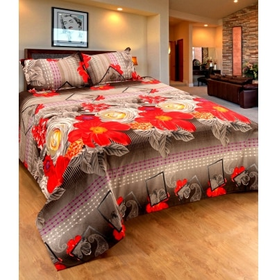 Home Castle Premium Luxury 3D Printed Double Bedsheet With 2...