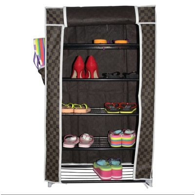 Home Smart Metal Shoe Rack With Removable Zip Up Cover
