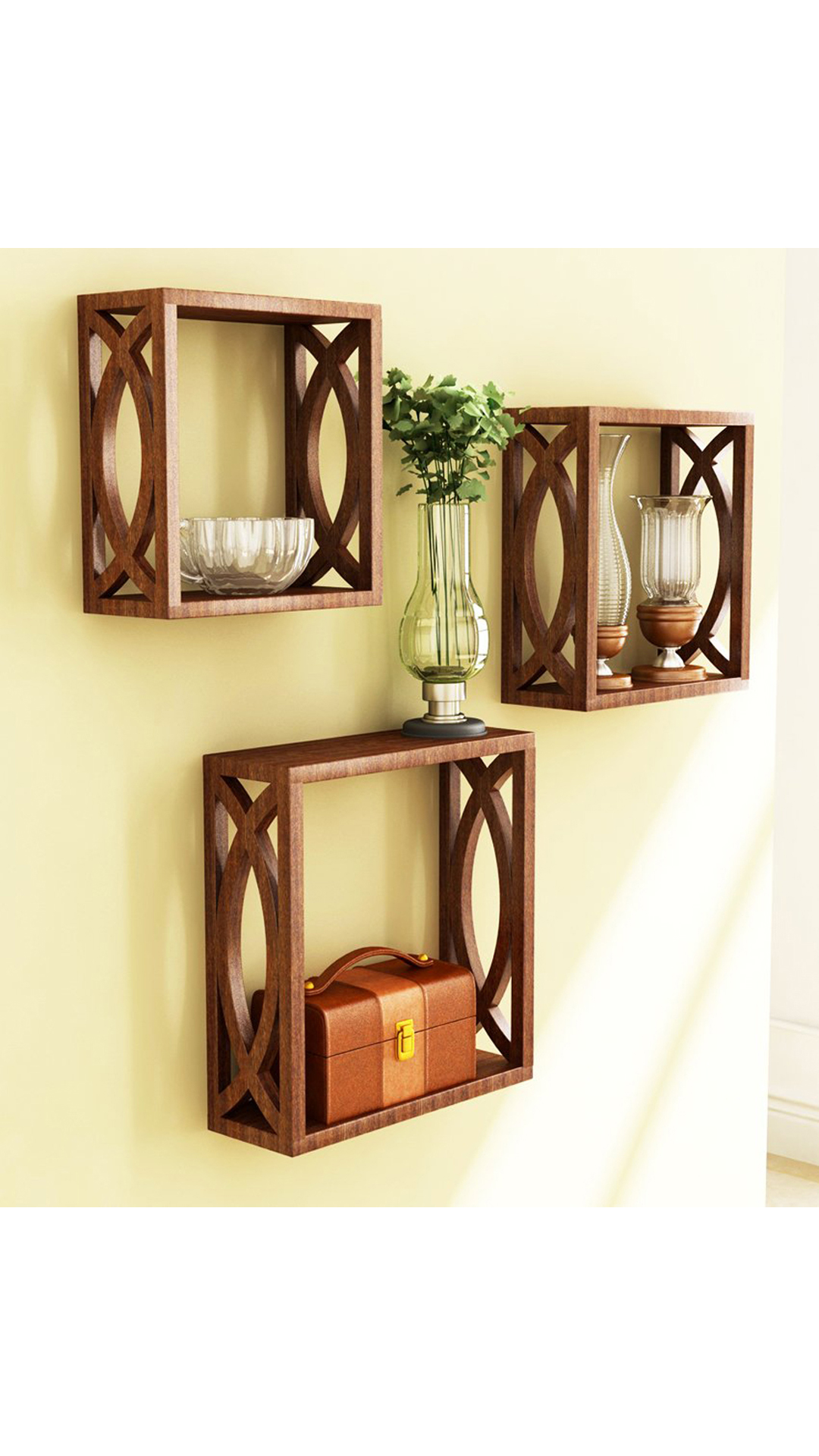 Buy Home Store Brown Wooden Wall Shelf Of Wall Decor Online at Low ...