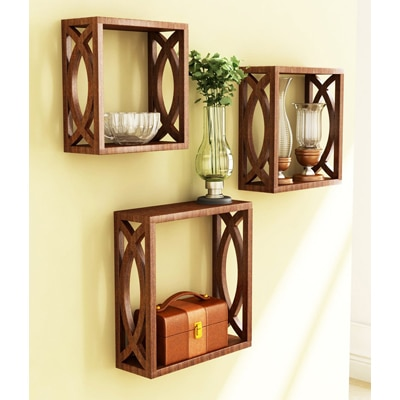 Home Store Brown Wooden Wall Shelf Of Wall Decor