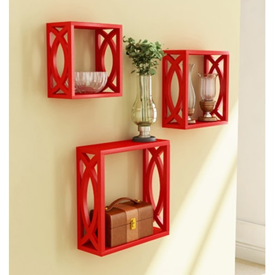 Home Store Red Wooden Wall Shelf Of Wall Decor