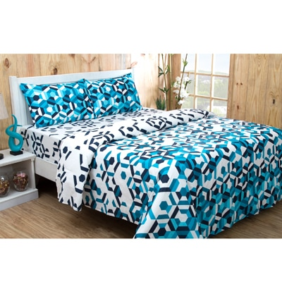 Inhouse By Maspar Lenox Blue Printed 1 Double Bed Sheet With 2 Pillow Covers