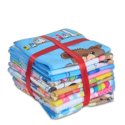 JARS Collections Set Of 12 Teddy Design Face Towels