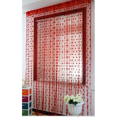 JBG Home Set of 2-Red Heart Curtains