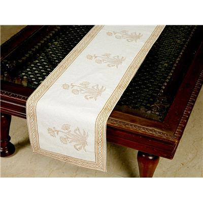 Jodhaa Printed Table Runner in Cotton in White/ Brown Color- Large 21TBRA072