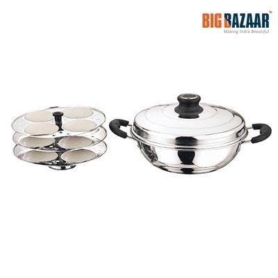 Kitchen Essentials Multi-Purpose Kadai with Idli Plates