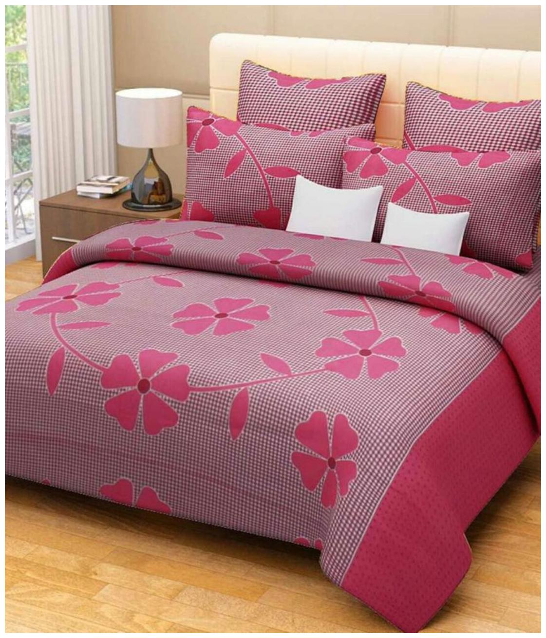 Details about  /Kohinoor Cotton Double Bedsheet 150 TC 2nos + 4 Pillow case-Multi-JPz