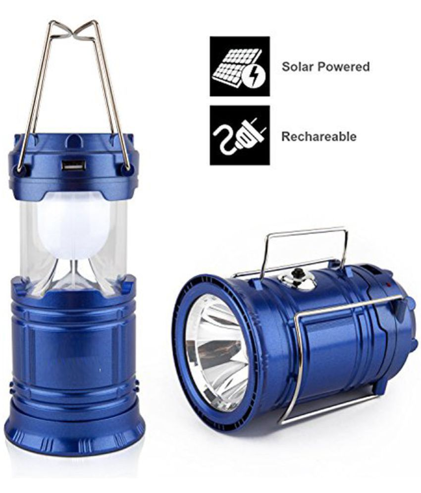 Krishtal Trading Solar Emergency Light Lantern, USB Mobile Charging Point, Rechargeable Night Light Plastic Hanging Lantern
