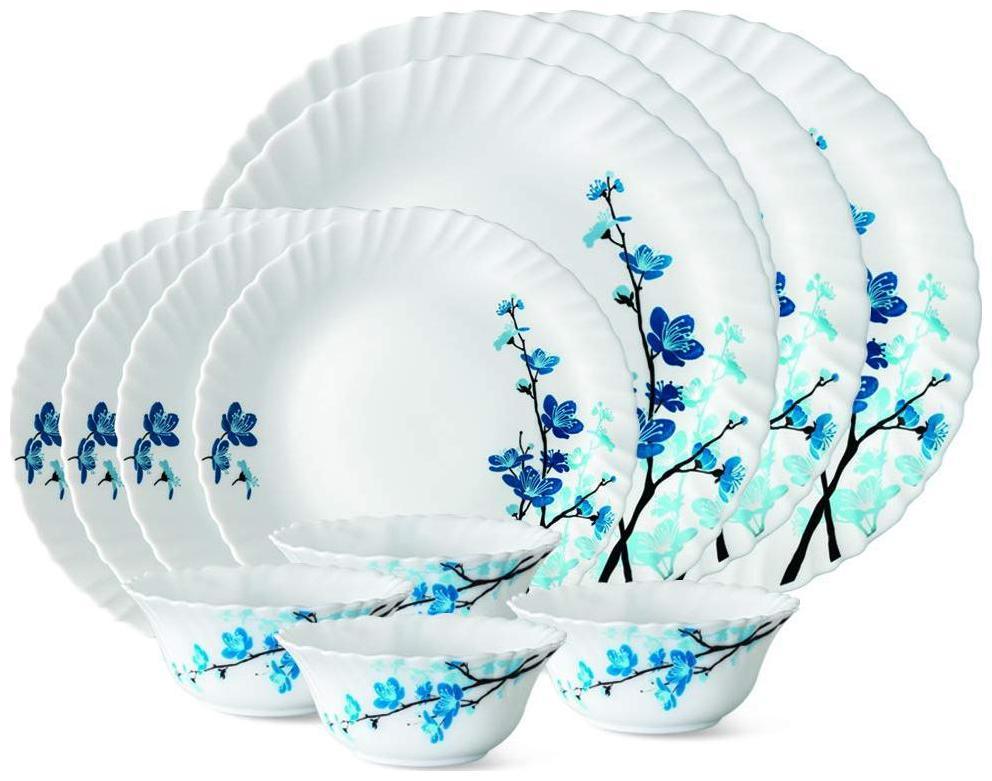 Larah Opalware Dinner Sets - Set of 12 , White