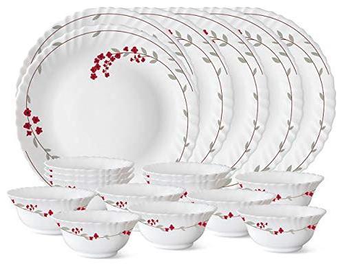 Larah Opalware Dinner Sets - Set of 18 , White