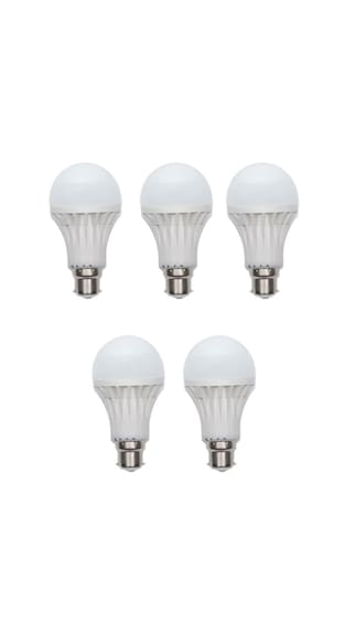 Gold-3-W-Plastic-Body-Warm-White-LED-Bulb-(Pack-Of-5)-