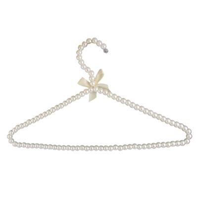MagiDeal White Plastic Pearl Bow Clothes Hangers Hook Rack for Adults 39cm