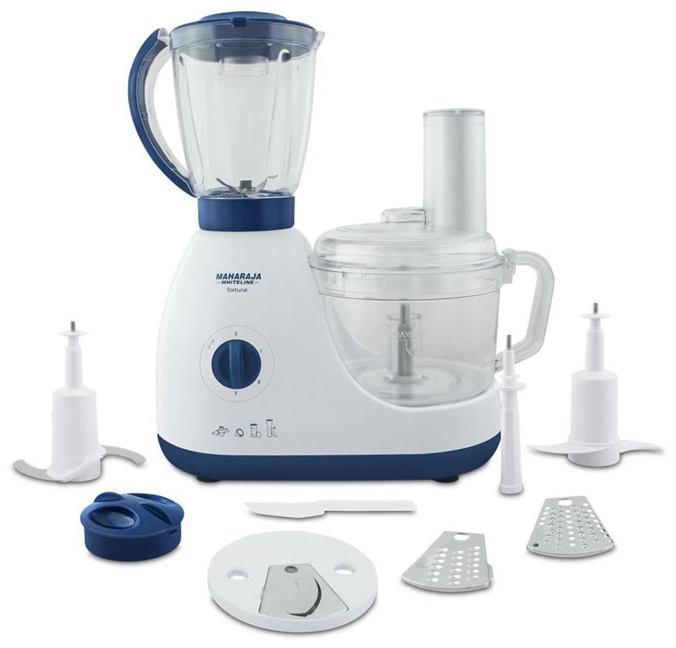Maharaja Whiteline Fortune FP-102 600 W Food Processor (Blue and White)