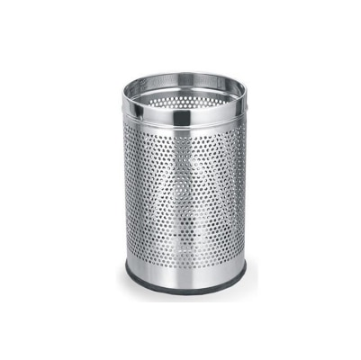 Meet Stainless Steel Perforated Open Dustbin, Stainless Steel Garbage Bin- 7 litre