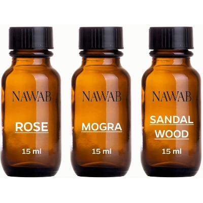 NAWABessential aroma Diffuser oil(Rose;Sandalwood;Mogra-15ml each)