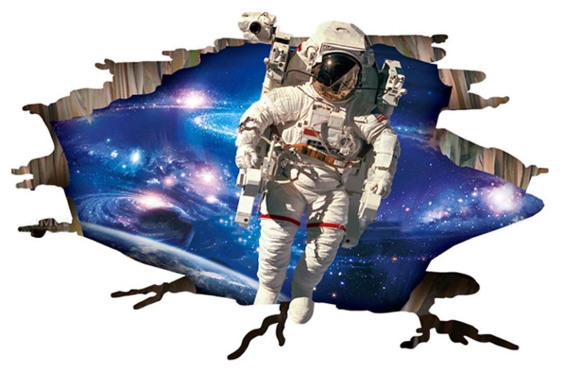 NQ9264,1pcs 60x90cm 3d astronaut Outer space landscape living room decorative wall stickers waterproof Queen